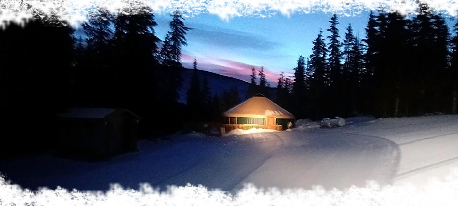 the yurt at night