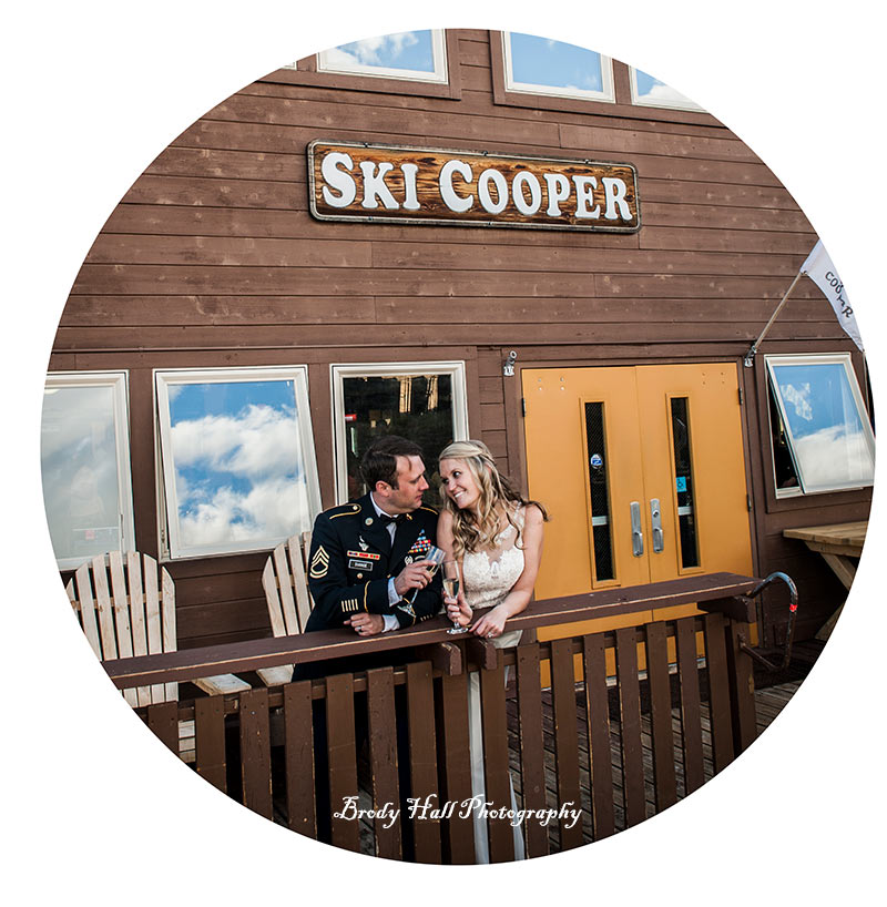 newlywed couple on the cooper deck