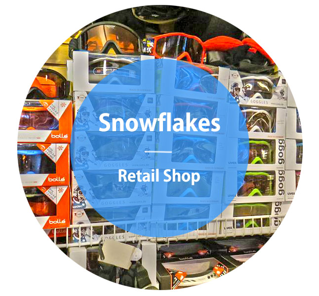 goggles on display in snowflakes retail shop