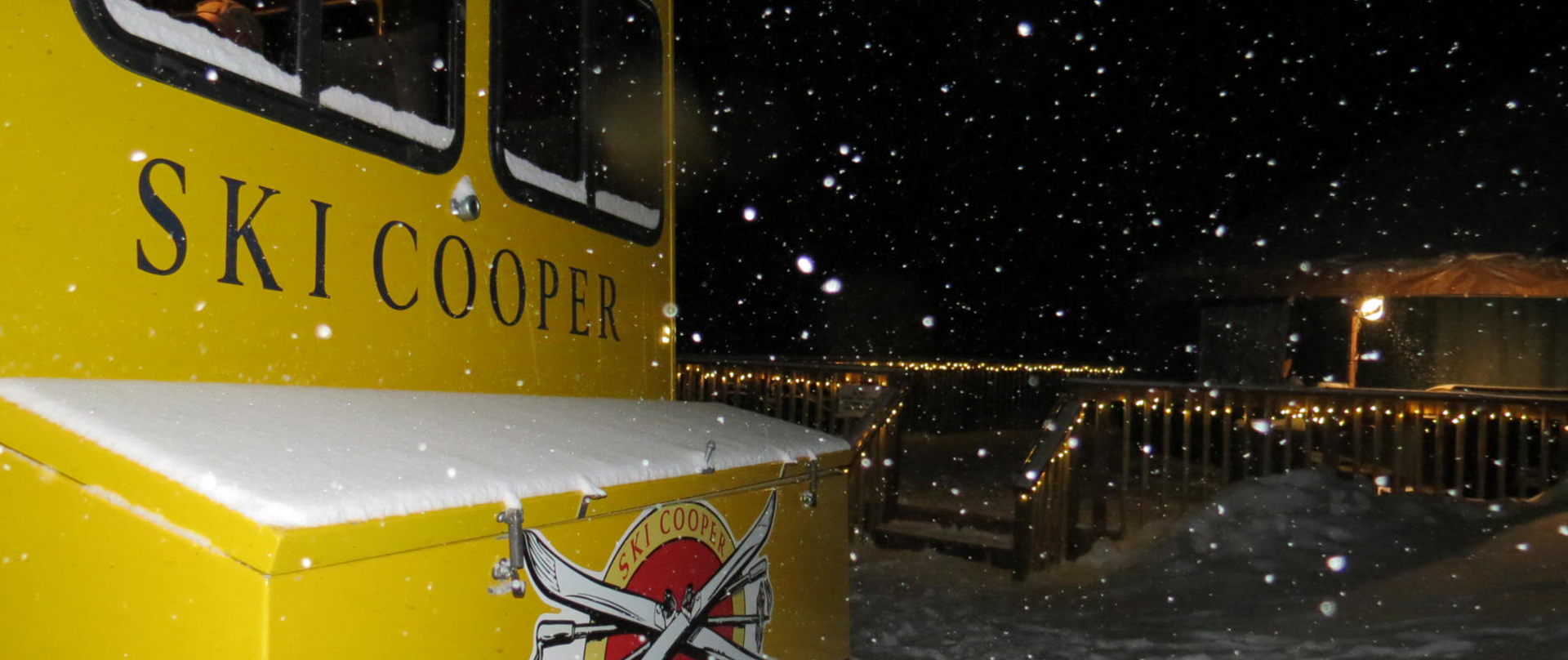 snowcat parked by the yurt