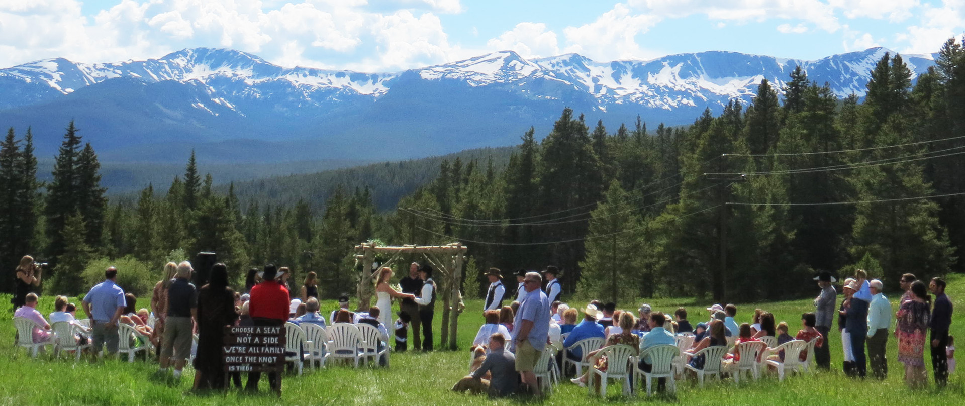 Wedding with mountains in the background