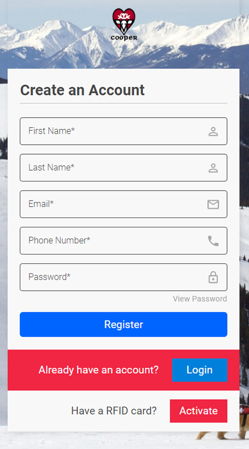 Form to create an account